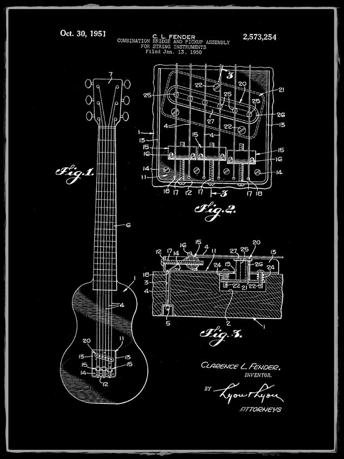 Assembly Bill 1951  >> Fender Bridge And Pickup Assembly Patent 1951 Black Photograph By