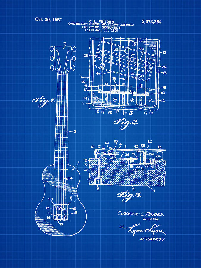 Assembly Bill 1951  >> Fender Bridge And Pickup Assembly Patent 1951 Blue Print Photograph