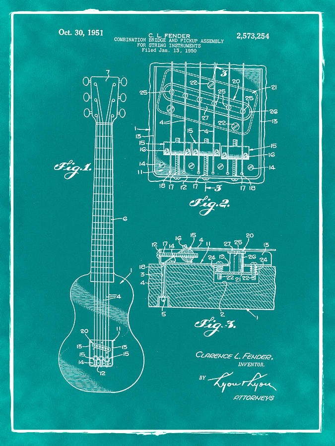 Assembly Bill 1951  >> Fender Bridge And Pickup Assembly Patent 1951 Green Photograph By