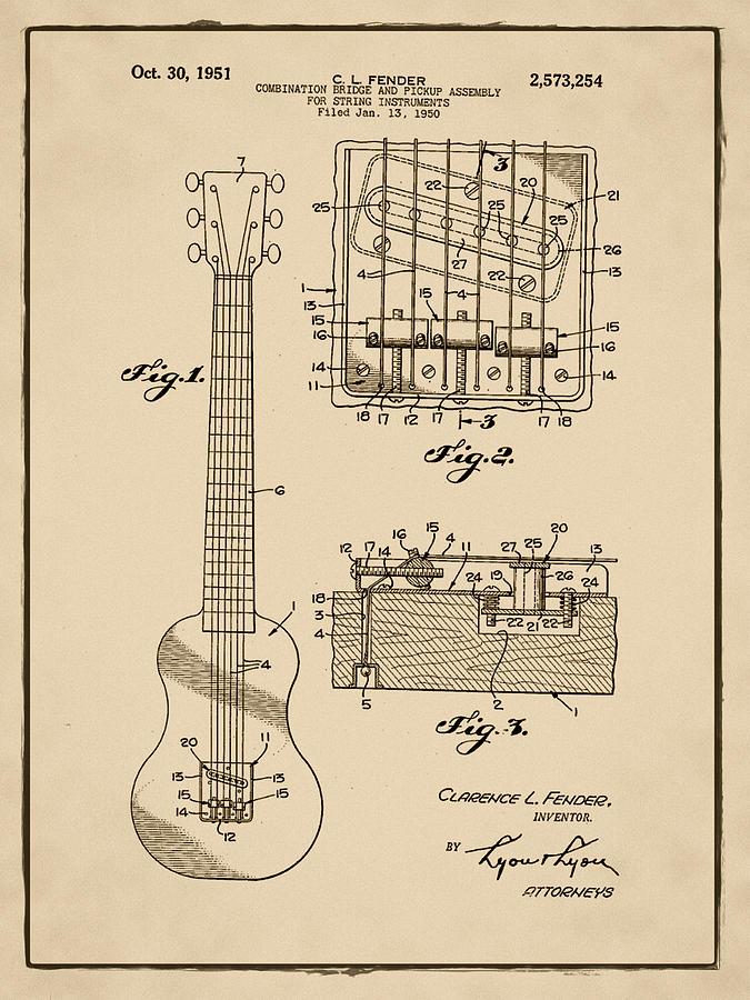 Assembly Bill 1951  >> Fender Bridge And Pickup Assembly Patent 1951 Sepia Photograph By