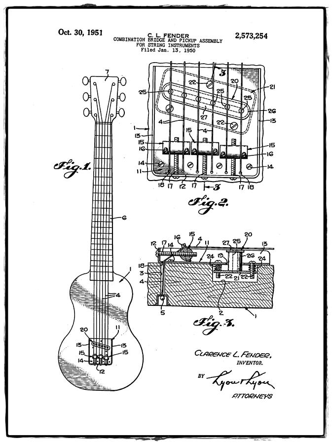 Assembly Bill 1951  >> Fender Bridge And Pickup Assembly Patent 1951 White Photograph By