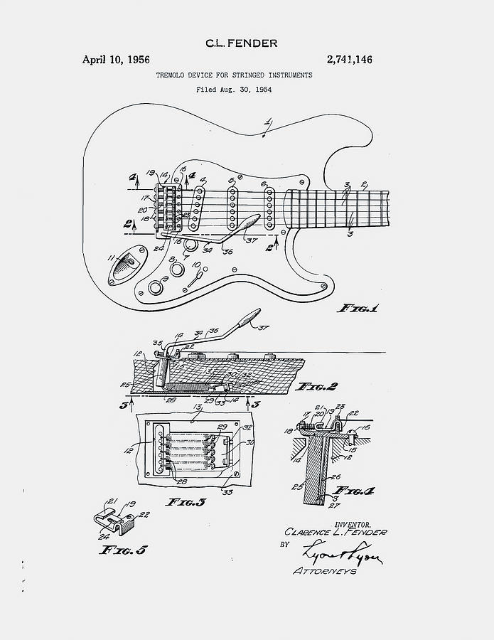 Fender Guitar Patent 1954 Digital Art By Claire Doherty