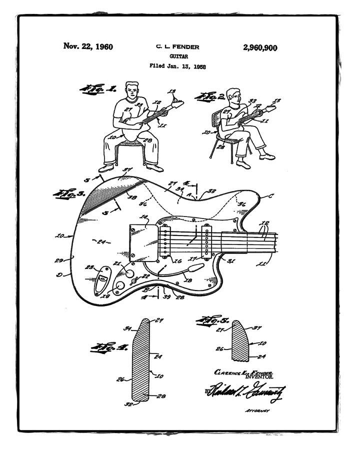 fender jazzmaster patent 1960 white photograph by bill cannon Gibson Flying V fender jazzmaster patent 1960 white
