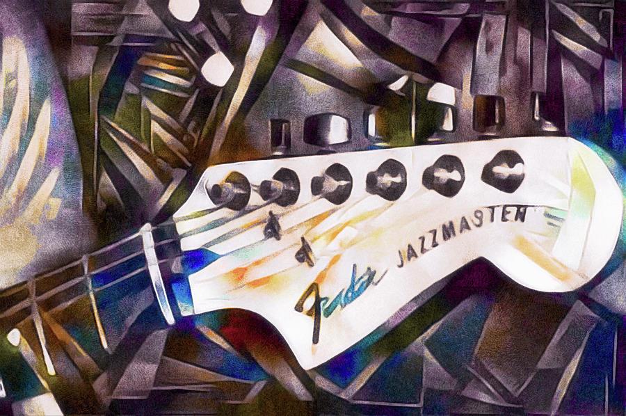 Tuning Pegs Mixed Media - Fender Jazzmaster by Susan Maxwell Schmidt