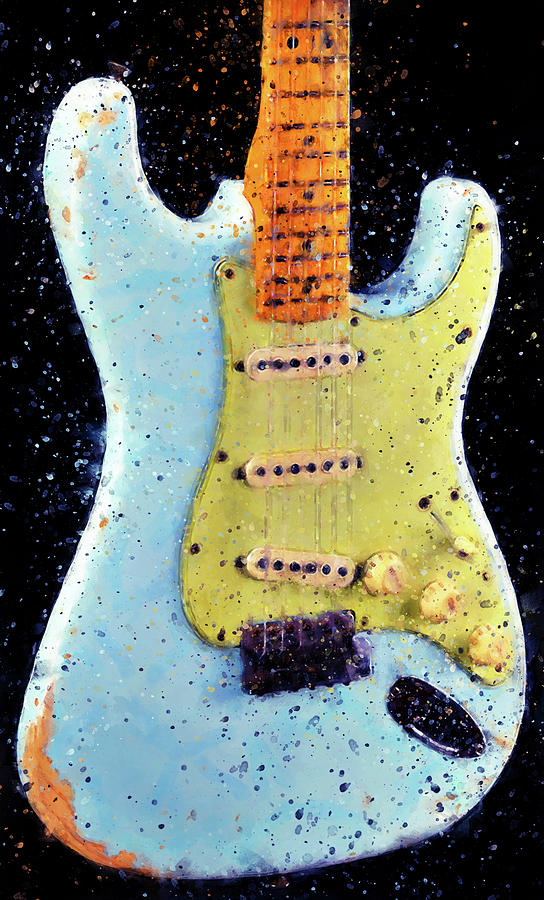 Guitar Painting - Fender Stratocaster - 02 by Andrea Mazzocchetti