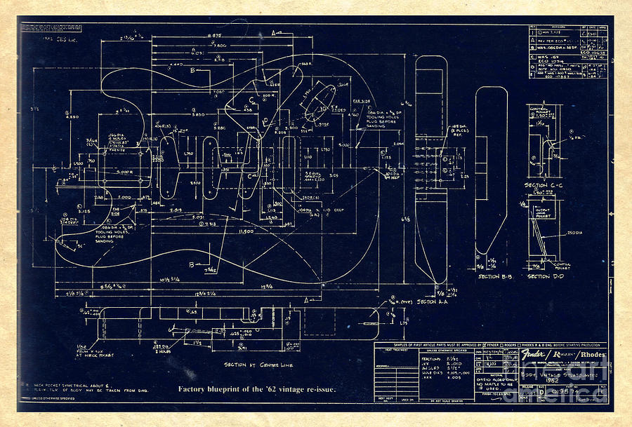 Fender stratocaster 1962 vintage body factory blueprint digital art fender digital art fender stratocaster 1962 vintage body factory blueprint by galambosi tamas malvernweather Image collections