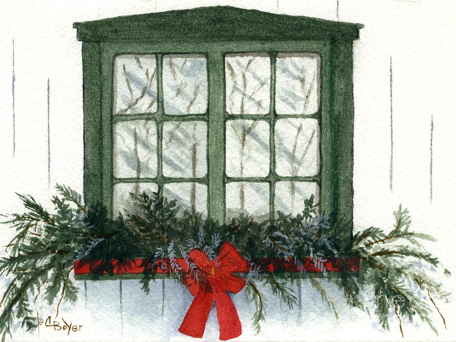 Window Painting - Fenetre De Noel by Caroline Boyer