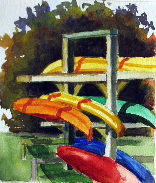 Kayak Painting - Fennimore Kayaks by Libby  Cagle
