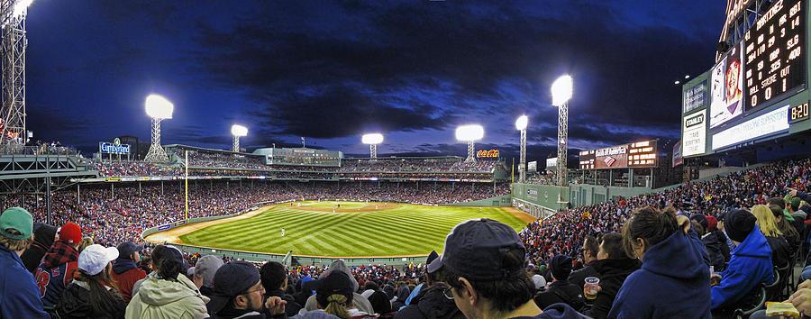 Crowd Photograph - Fenway Night by Rick Berk