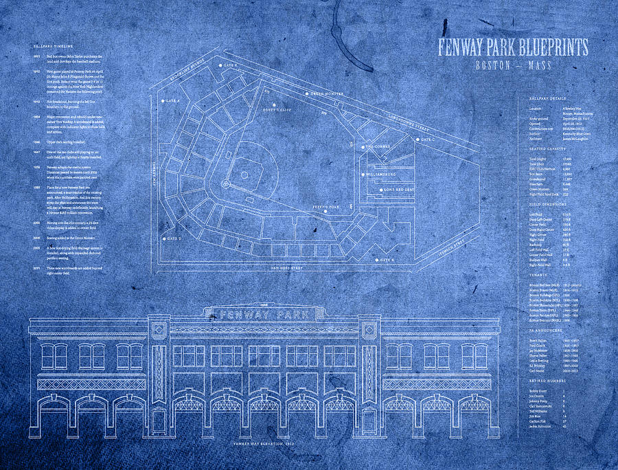 Fenway Park Mixed Media   Fenway Park Blueprints Home Of Baseball Team  Boston Red Sox On. Fenway Park Blueprints Home Of Baseball Team Boston Red Sox On