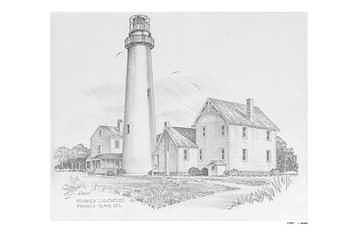 Fenwick Island Lighthouse Drawing - Fenwick Island Lighthouse by Mike  Goebel
