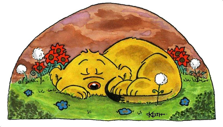 Cartoons Painting - Ferald Sleeping by Keith Williams