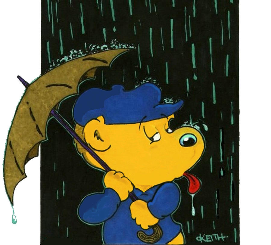 Cartoons Painting - Feralds Taste Of Rain by Keith Williams