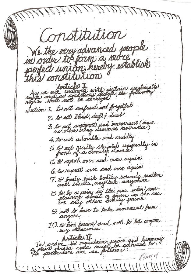 Feralgenarian Constitution Drawing by Roger Swezey