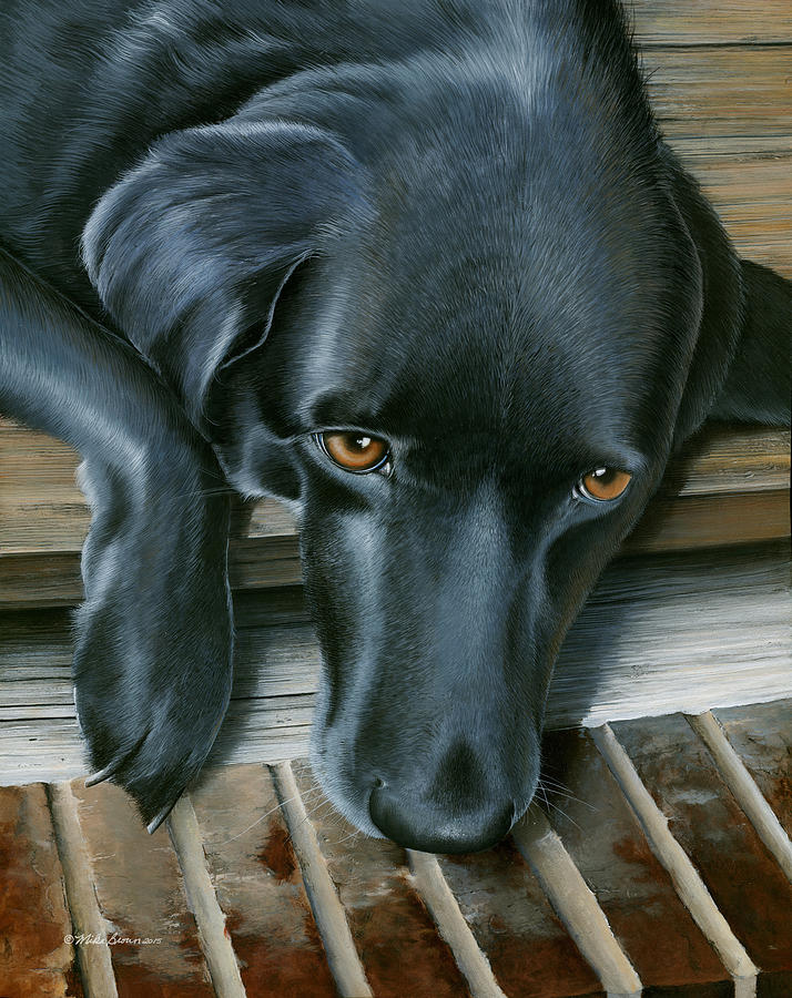 Black Lab Painting - Fergie by Mike Brown