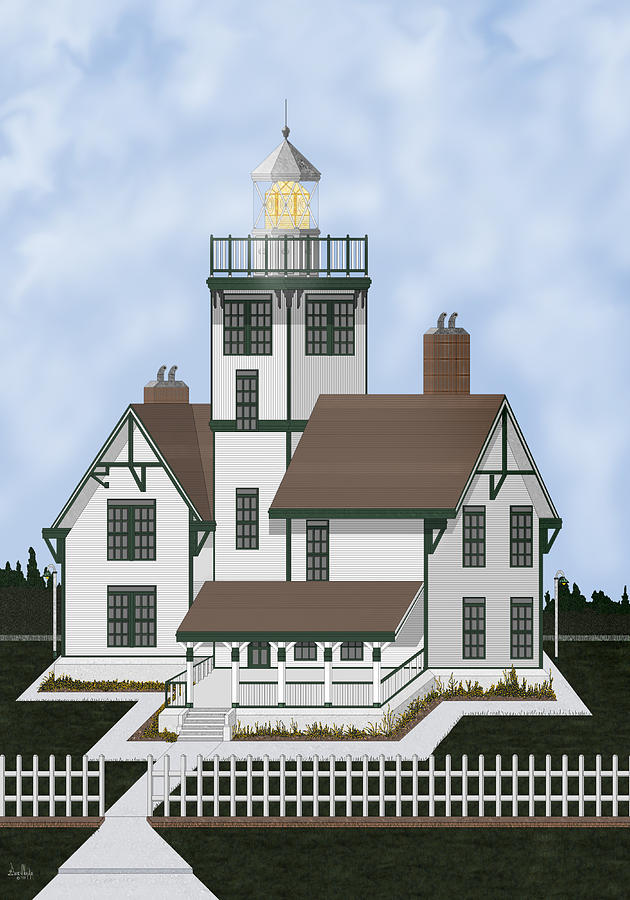 Lighthouse Painting - Fermin Model Landscaped by Anne Norskog