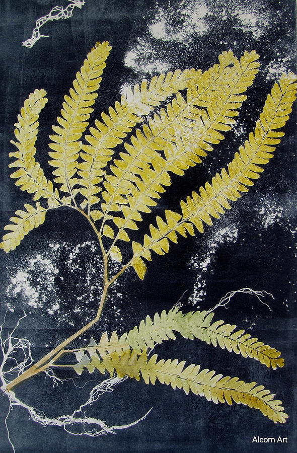 Fern Painting - Fern Monoprint by Brenda Alcorn