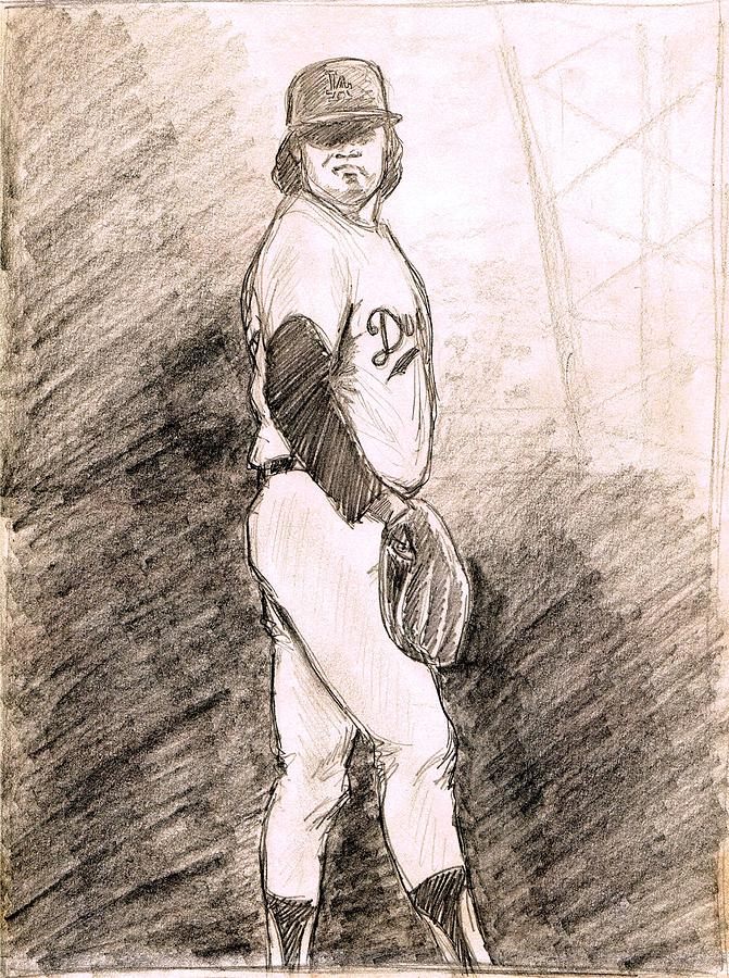 Baseball Drawing - Fernando Valenzuela by Mel Thompson