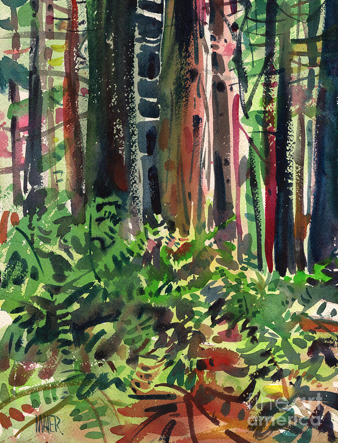 Ferns Painting - Ferns And Redwoods by Donald Maier