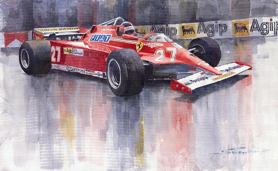 Watercolour Painting - Ferrari 126c 1981 Monte Carlo Gp Gilles Villeneuve by Yuriy  Shevchuk