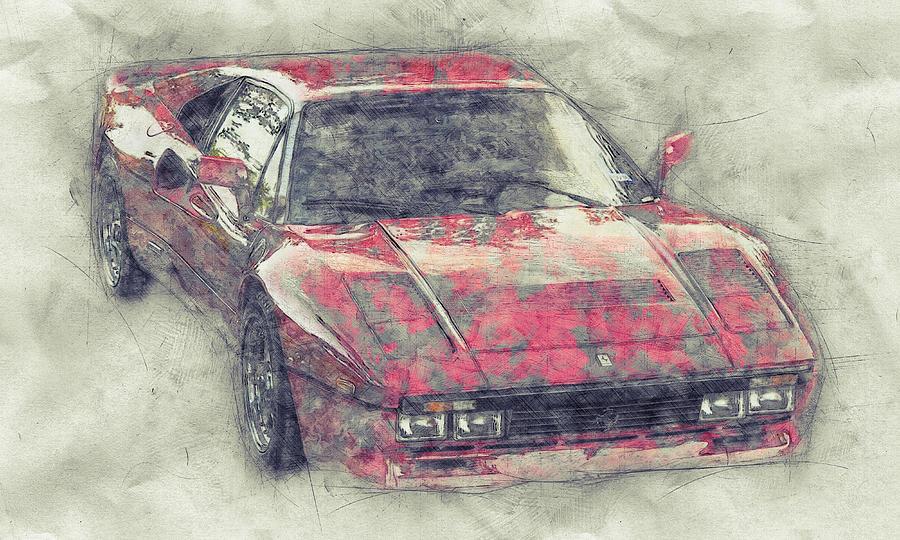 Ferrari 288 Gto 1 - Sports Car - 1984 - Automotive Art - Car Posters Mixed Media