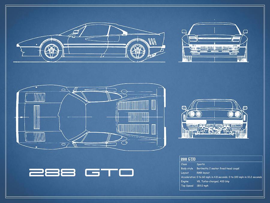 Ferrari 288 gto blueprint photograph by mark rogan ferrari photograph ferrari 288 gto blueprint by mark rogan malvernweather Gallery