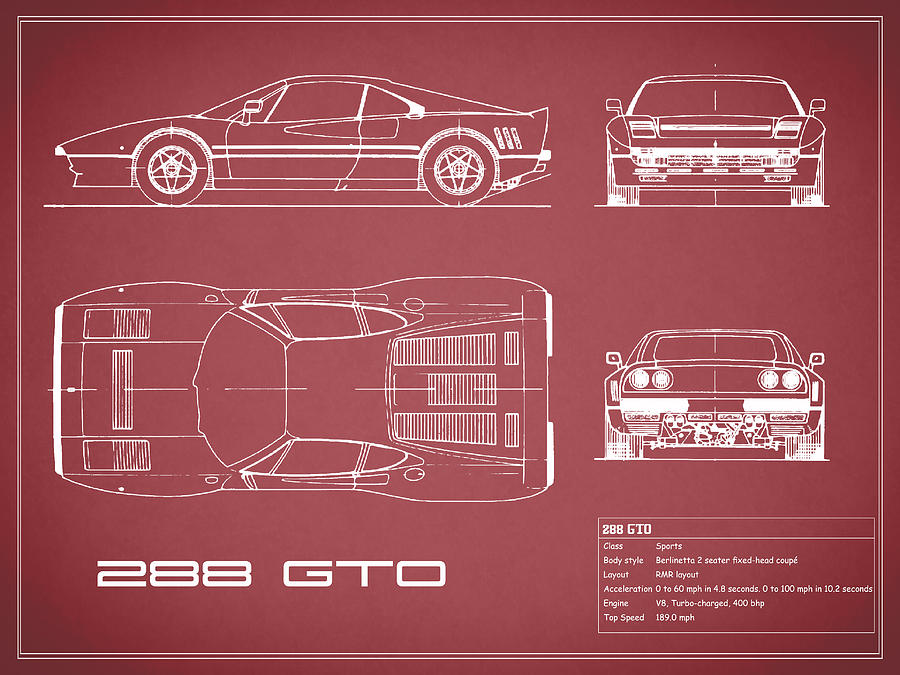 Ferrari 288 gto blueprint red photograph by mark rogan ferrari photograph ferrari 288 gto blueprint red by mark rogan malvernweather Images