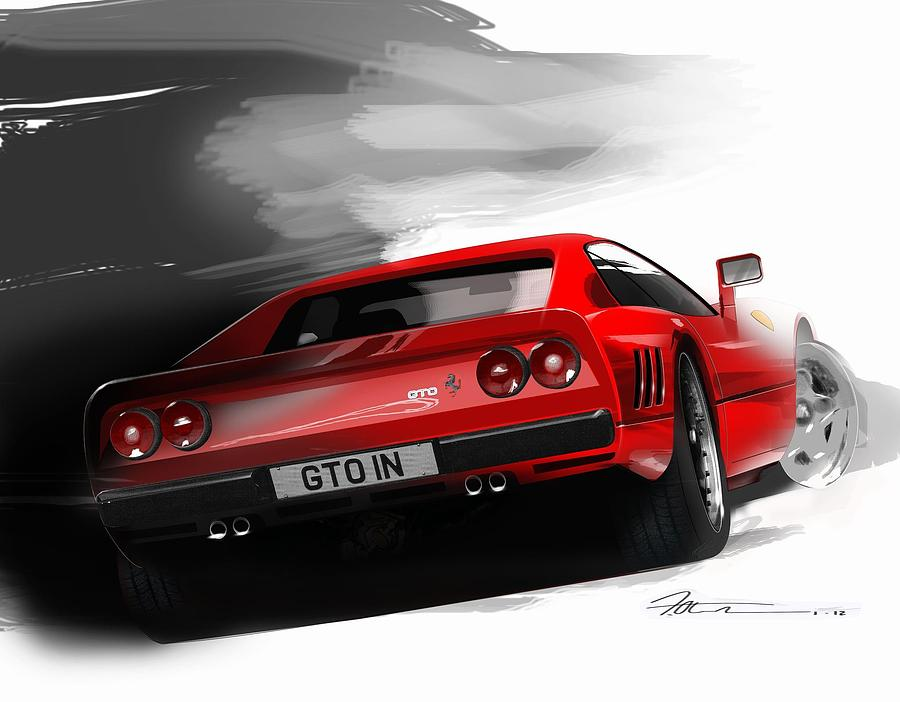 Rare Ferrari 288 Gto Digital Art - Ferrari 288 Gto by Fred Otene