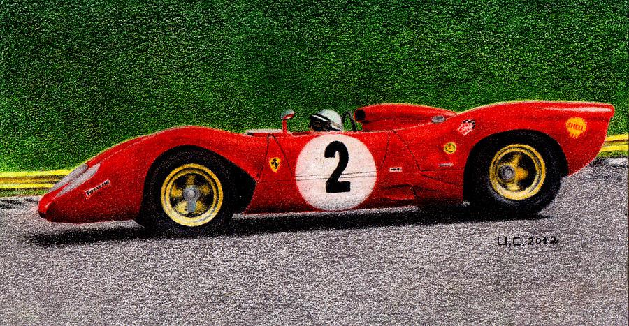 Formula 1 Painting - Ferrari 312p Pedro Rodriguez 1969 by Ugo Capeto