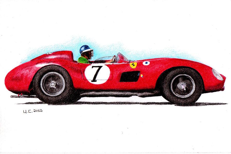 Formula 1 Painting - Ferrari 335s Mike Hawthorn 1957 by Ugo Capeto