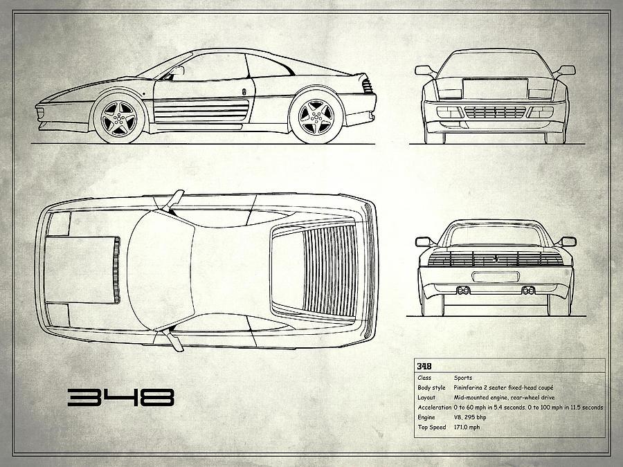 Ferrari 348 blueprint white photograph by mark rogan ferrari photograph ferrari 348 blueprint white by mark rogan malvernweather Gallery