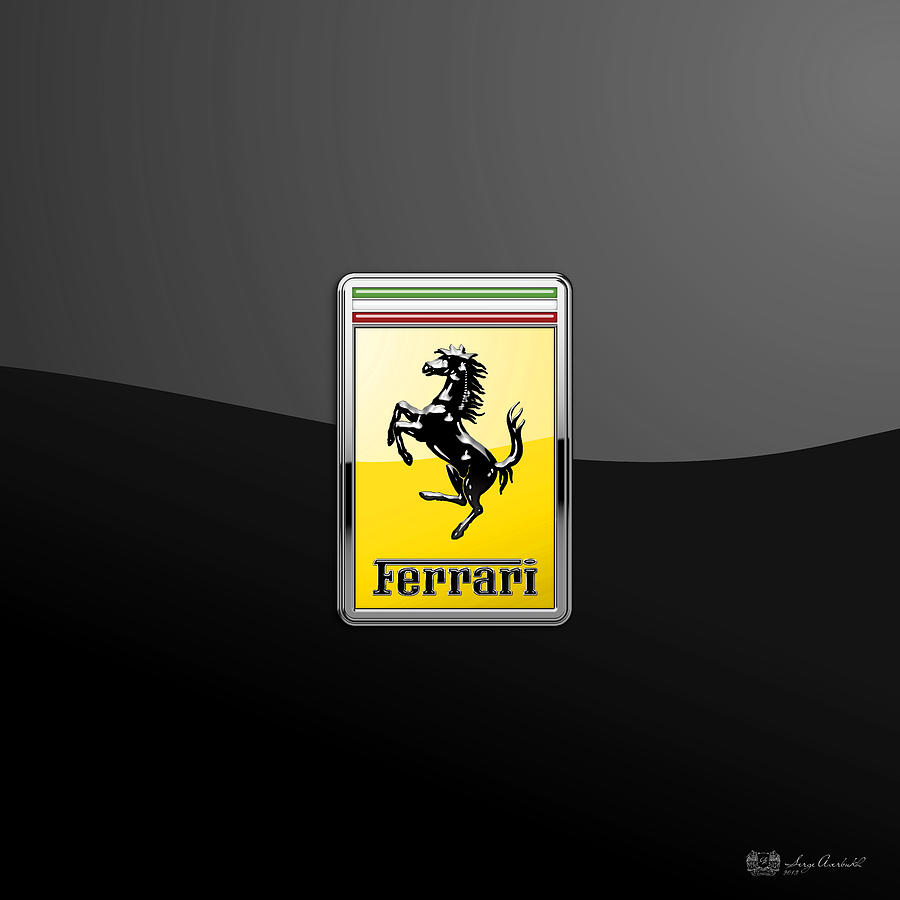 Car Photograph - Ferrari 3D Badge- Hood Ornament on Black by Serge Averbukh