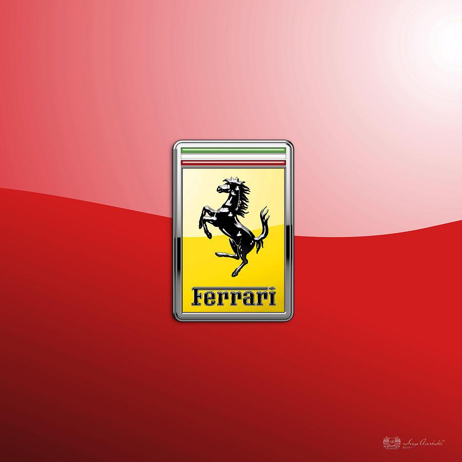 Car Photograph - Ferrari 3D Badge-Hood Ornament on Red by Serge Averbukh