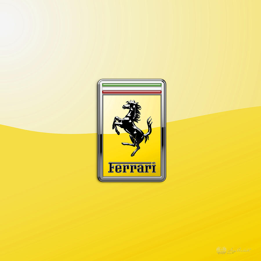 Car Photograph - Ferrari 3D Badge- Hood Ornament on Yellow by Serge Averbukh