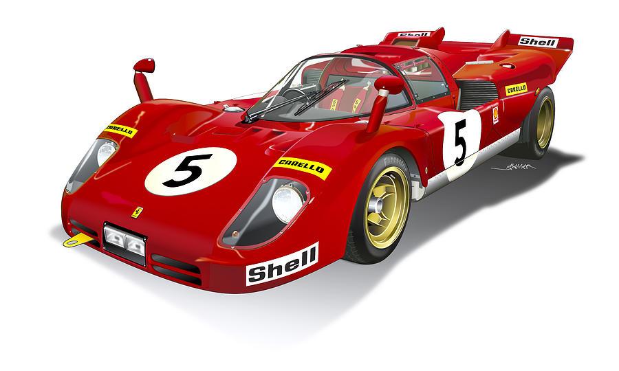 Digital Illustration Digital Art - Ferrari 512 Illustration by Alain Jamar