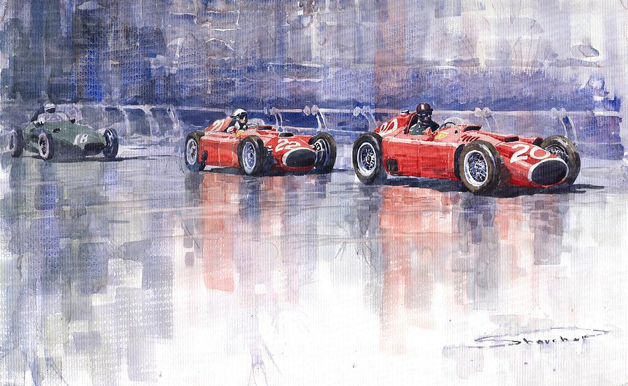 Watercolour Painting - Ferrari D50 Monaco Gp 1956 by Yuriy  Shevchuk