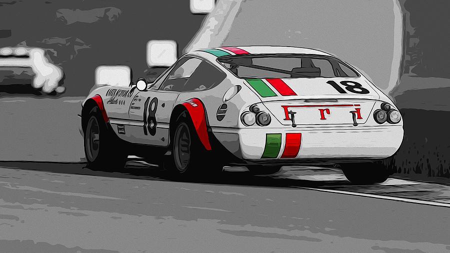 Ferrari Daytona Painting - Ferrari Daytona 365 Gtb4 - Italian Flag Livery by Andrea Mazzocchetti