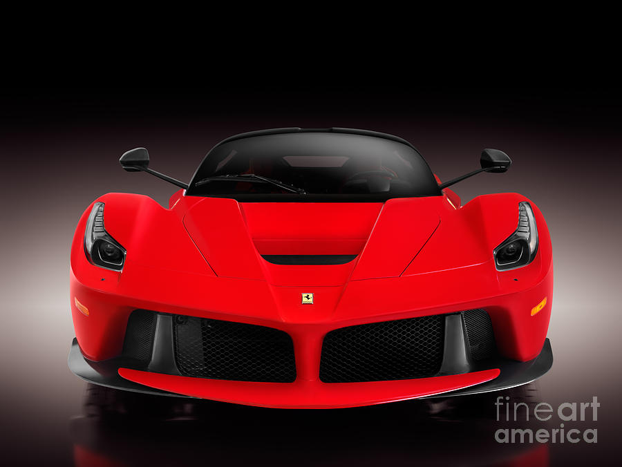 Ferrari Photograph   Ferrari F150 Laferrari Supercar Sports Car Front View  On Black By Oleksiy Maksymenko