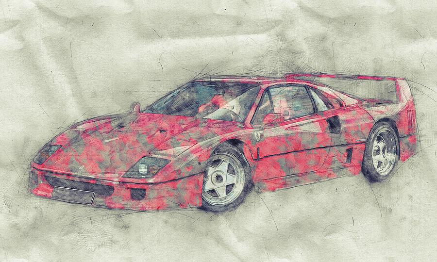 Ferrari F40 - Sports Car 1 - 1987s - Grand Tourer - Automotive Art - Car Posters Mixed Media