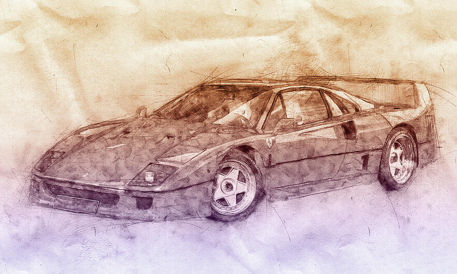 Ferrari F40 - Sports Car 2 - 1987s - Grand Tourer - Automotive Art - Car Posters Mixed Media