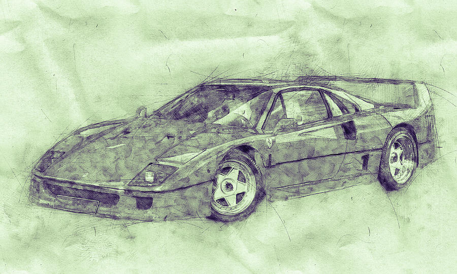Ferrari F40 - Sports Car 3 - 1987s - Grand Tourer - Automotive Art - Car Posters Mixed Media