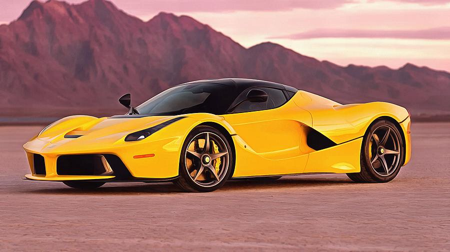 Ferrari Laferrari Yellow Painting by Vadim Pavlov