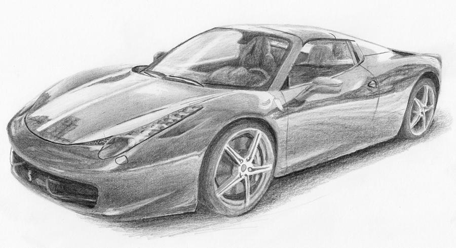 Pencil Drawing - Ferrari by Nolan Clark
