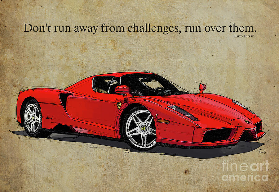 Ferrari Red Classic Car And Enzo Ferrari Quote Vintage Brown