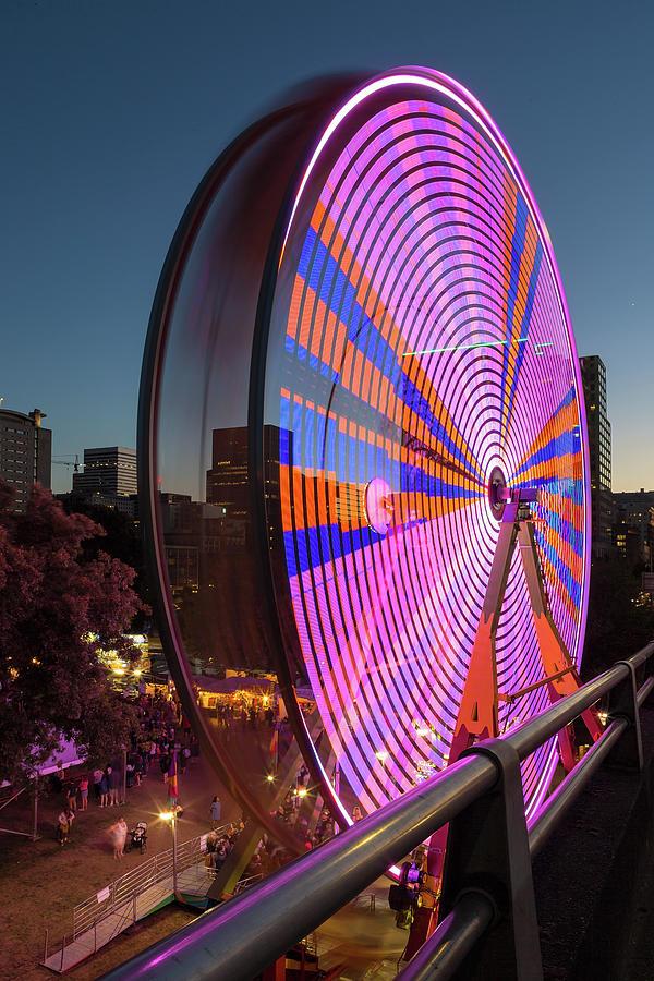 Ferris Photograph - Ferris Wheel at Fun Fair in Downtown Portland Oregon by David Gn