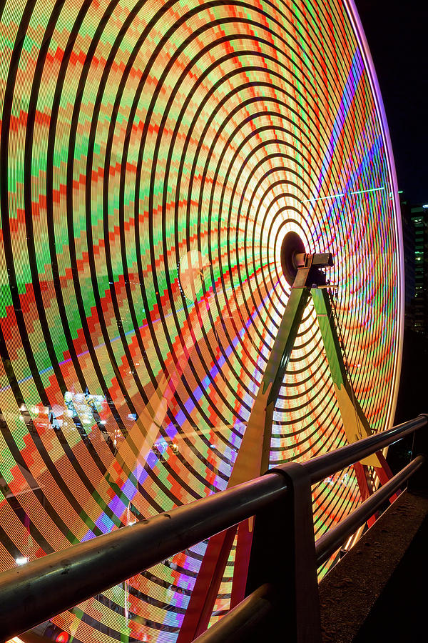 Ferris Photograph - Ferris Wheel  Closeup Night Long Exposure by David Gn