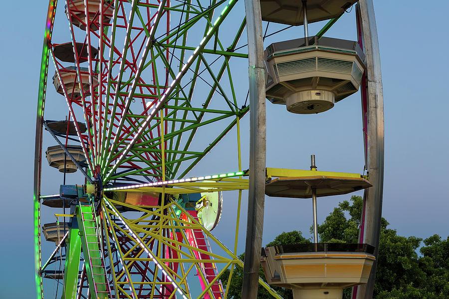 Ferris Photograph - Ferris Wheel Lights at Dusk Closeup by David Gn