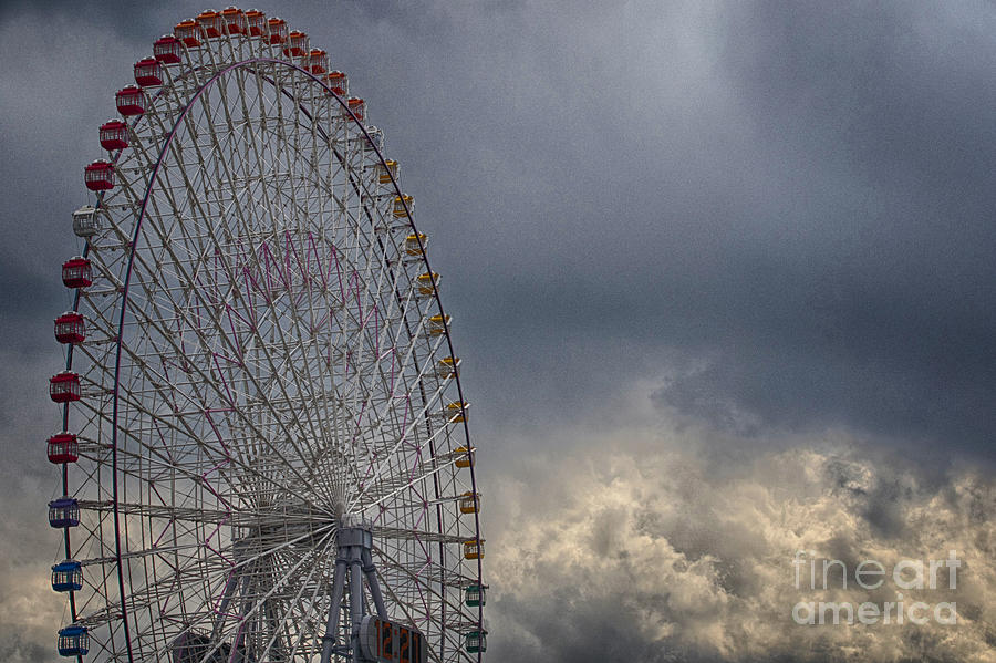 Cloud Photograph - Ferris Wheel by Tad Kanazaki