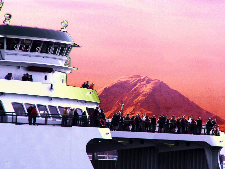 Seattle Digital Art - Ferry And Da Mountain by Tim Allen