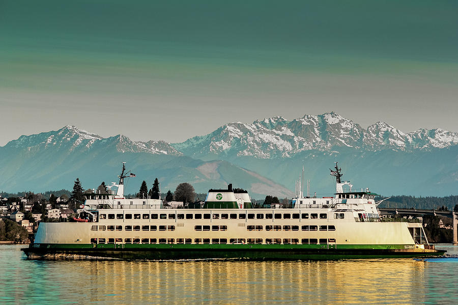 Ferry Kitsap with Olympic Mountains by E Faithe Lester